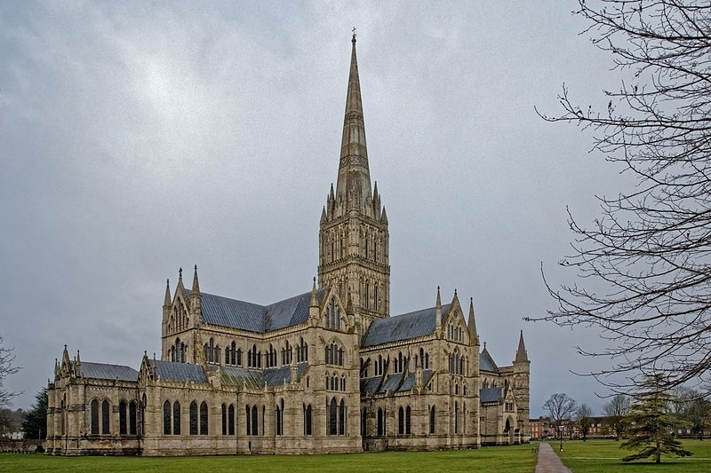 This view of the cathedral emphasizes the height of the spire.