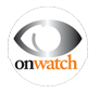 "Logo: silver eye with ""on watch"" beneath it"