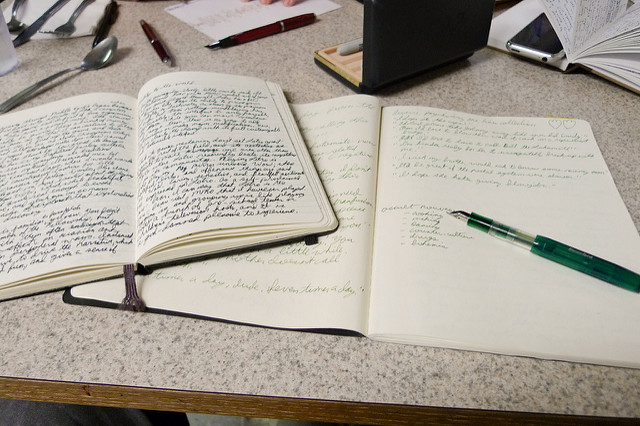 Two open journals on a table
