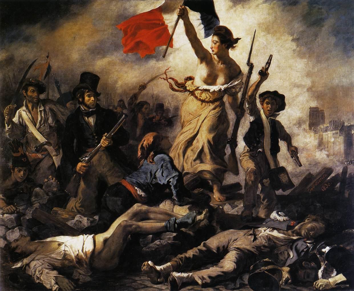 Eugène Delacroix, Liberty Leading the People, 1830, oil on canvas, 260 × 325 cm. Musée du Louvre, Paris.