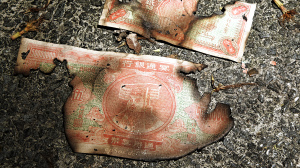 Two partially burned Chinese paper bills