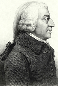 Engraving of Adam Smith, in profile