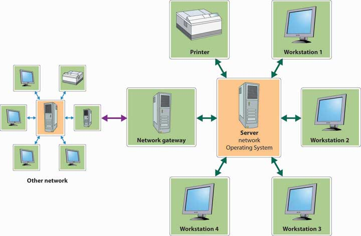 The server, or network operating system, connects to four workstations, a printer, and a network gateway, which connects to another network.
