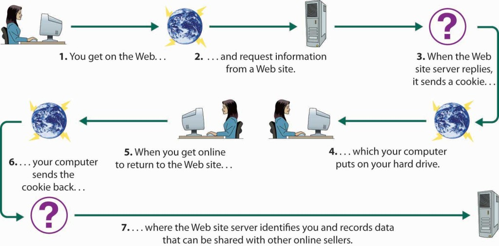 You get on the web and request information from a website. When the website serer replies, it sends a cookie, which your computer puts on your hard drive. When you get online to return to the website, your computer sends the cookie back, where the website server identifies you and records data that can be shared with other online sellers.