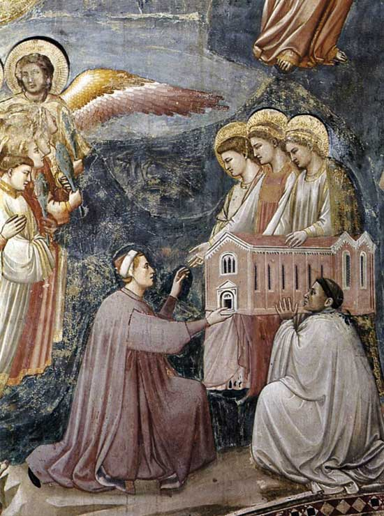 Enrico kneeling on the ground before the three Virgins, who all have halos.
