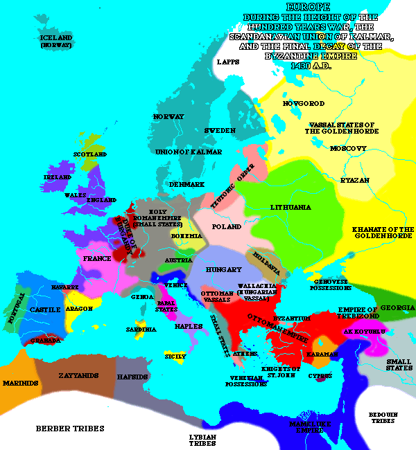 Europe during the height of the hundred years war, the Scandinavian union of Kalmar, and the final decay of the Byzantine Empire.