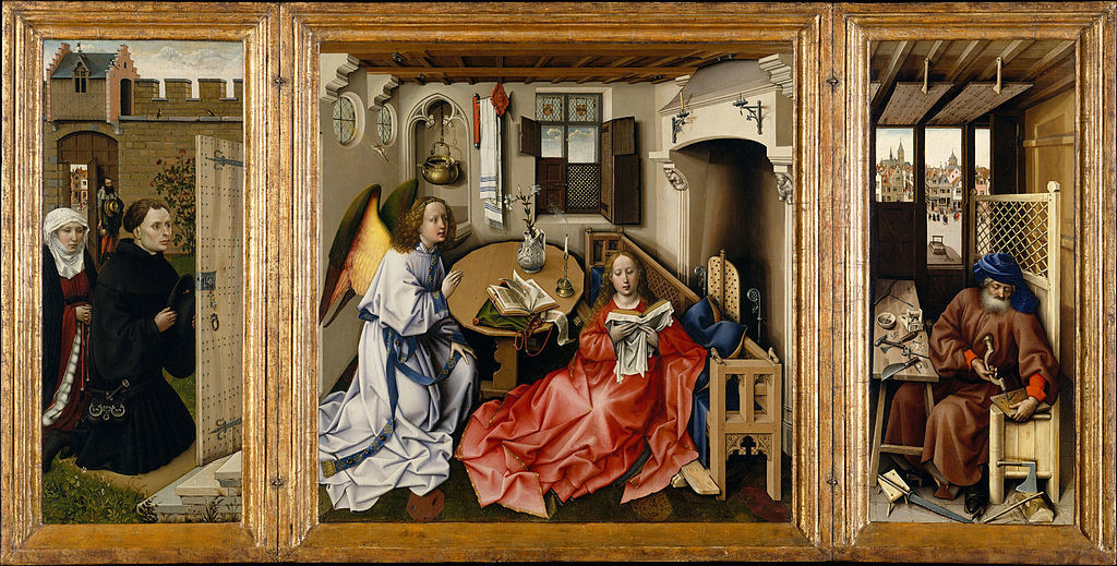 A triptych altarpiece with Donors on the left, the annunciation in the center, and saint Joseph on the left.
