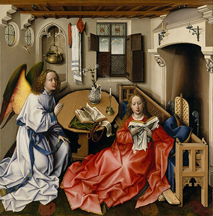 The Angel Gabriel appears to the Virgin Mary.