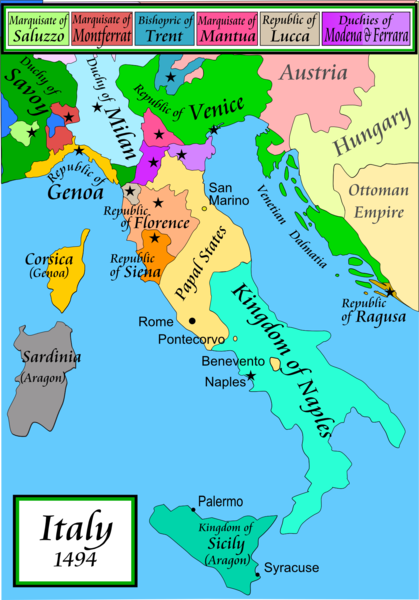 A map of what is now Italy. It is made up of several states including the Kingdom of Naples, the Papal States, The Republic of Florence, and the duchy of Milan.
