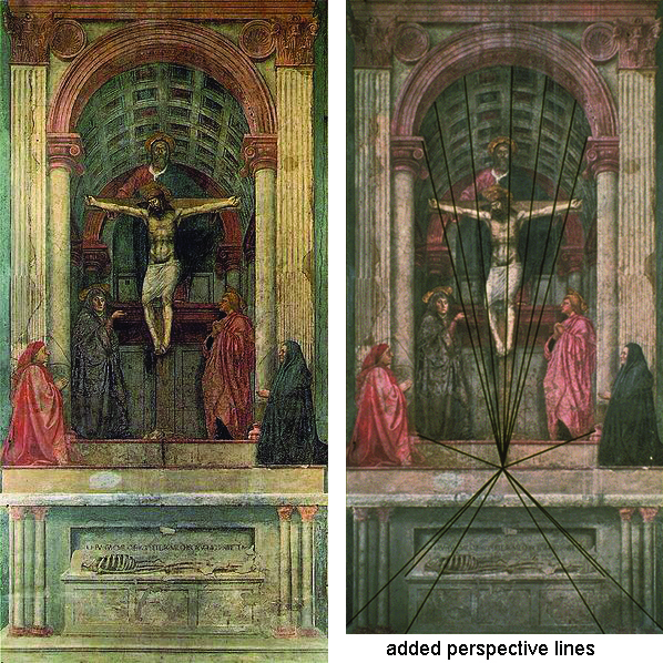 The same painting is shown twice, side-by-side. The first instance is the original, the second has perspective lines superimposed over it to show how linear perspective is being used in the painting's composition.