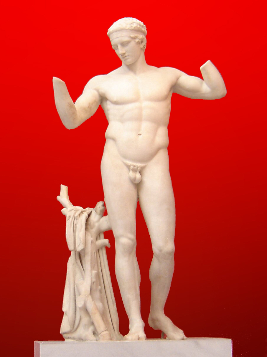 A sculpture of an athletic young man in contrapposto position.