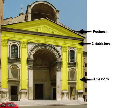 The facade with specific forms highlighted. There are pilasters (two on either side of the doorway), an entablature above these, and a pediment on top of the entablature.