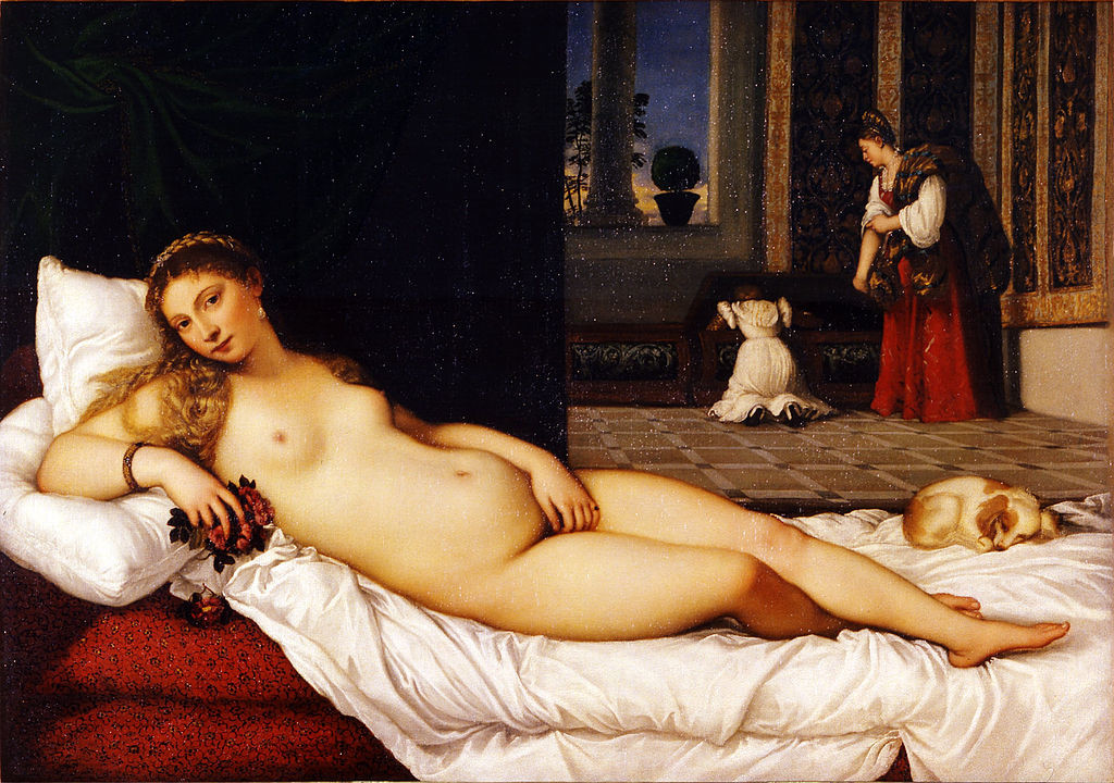 A nude woman reclines on a bed, grapes in her hand. There is a small dog at her feet. The room has an air of wealth: rich red fabrics along side pristine whites, and tapestries hanging on the walls. There are also servants visible in the back of the room.