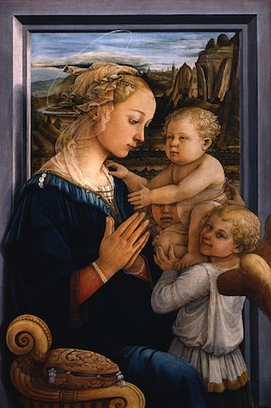 The Madonna is holding her hands in a prayerful pose, and the Child is being supported and held up by two child angels.