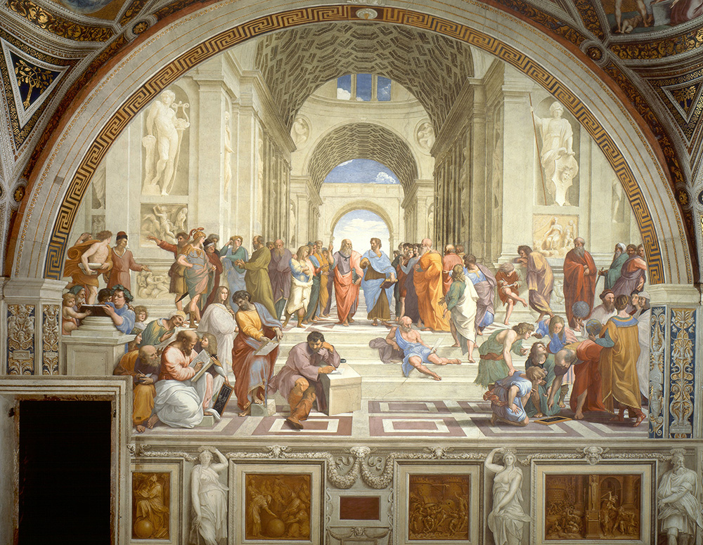 A large room constructed with classical roman arches. The room is filled with philosophers and great thinkers.