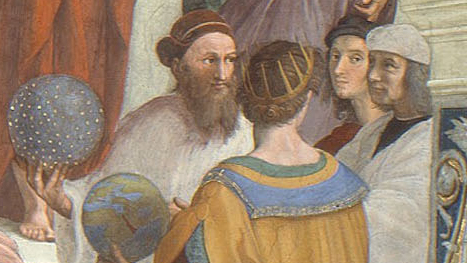Close up of Ptolemy and Raphael. Raphael is a young man wearing red clothing.