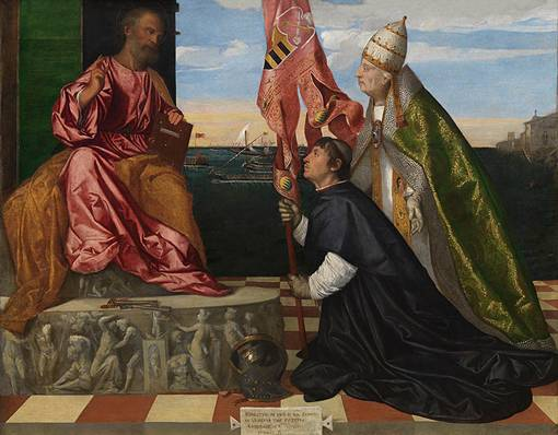 Saint Peter is enthrone. Jacopo kneels on the ground before him in supplication while the pope stands at his side, gesturing to Jacopo.
