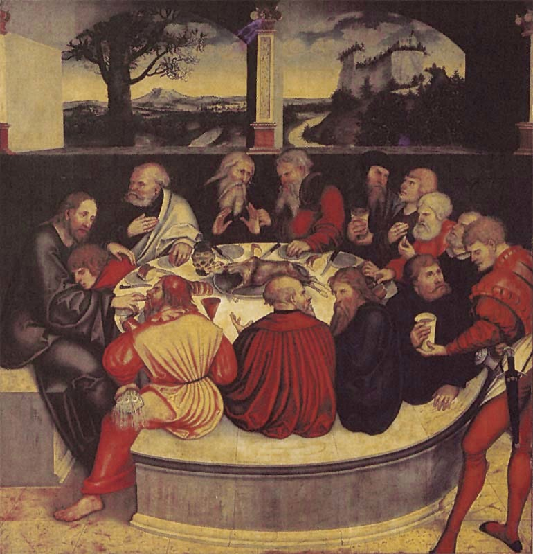 The last supper. Christ and the twelve apostles sit around a circular table. A bench encircles nearly the entire table, but Christ is sitting on a chair separate from the apostles' bench.