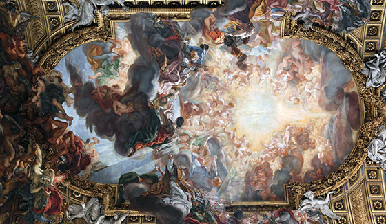 This painting is also known as the Worship or the Adoration. The focal point of the painting is a bright light, representing Christ and his glory. Worshippers surround this light. The ceiling painting is meant to include the viewers (especially congregations). To accomplish this, the painter has shown figures at differing distances, some appearing to be in our space, rising into the sky with other. The mural is surrounded with a gilded frame.