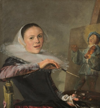 Leyster has painted herself in the act of completing a portrait of a minstrel. Her body is turned toward the painting, but her face is towards the viewer. She holds a paint palette and a brush, while looking at the viewer with a half-smile.