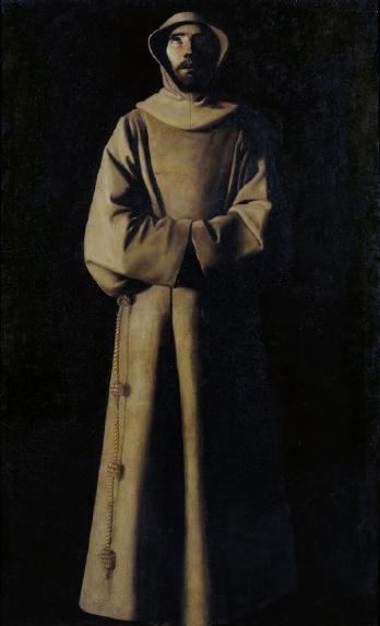 A monochromatic painting with browns. Saint Francis almost appears to be a wooden carving. He stands in religious robes, looking toward the heavens.