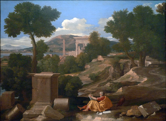 Saint John sits reclined on the ground while writing with papers to his left side. Behind him is a landscape with trees, mountains, and ruins of buildings.
