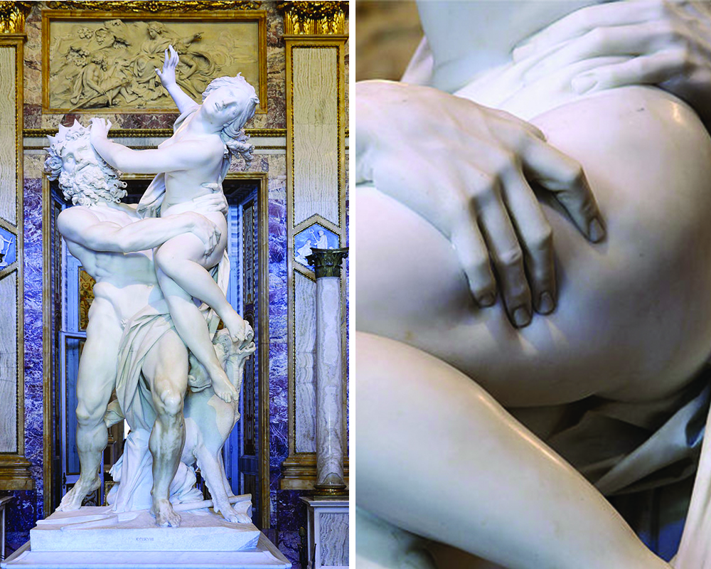 On the left is a photograph of the full sculpture of Pluto and Proserpina; on the right is a photograph of the details of Pluto's hand on Proserpina's thigh. The sculpture depicts Pluto seizing Proserpina in his arms while she tries to escape his grasp, pushing her hand into his face. There is an amazing level of detail and realism in this work. Pluto's fingers press into Proserpina's thigh, making the marble appear like flesh.