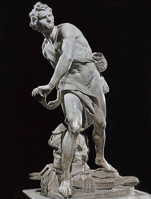 David stands with his body turned, preparing to sling his rock at Goliath.