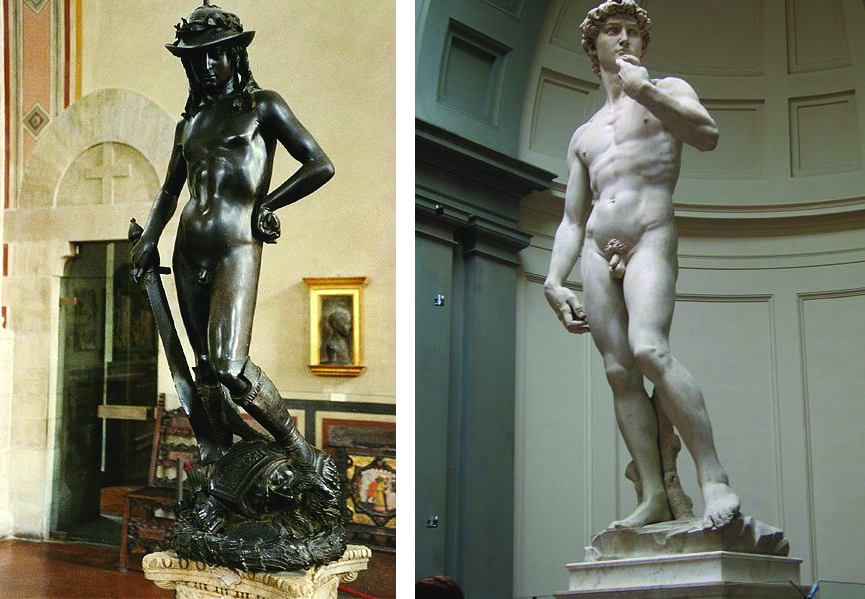 Donatello's and Michelangelo's Davids. Michelangelo's is a full nude, one hand brought up and the other resting at his side. Donatello's wears a hat and sandals. One hand is on his hip while the other holds a sword, with its point on the ground. David's foot in on Goliath's head.