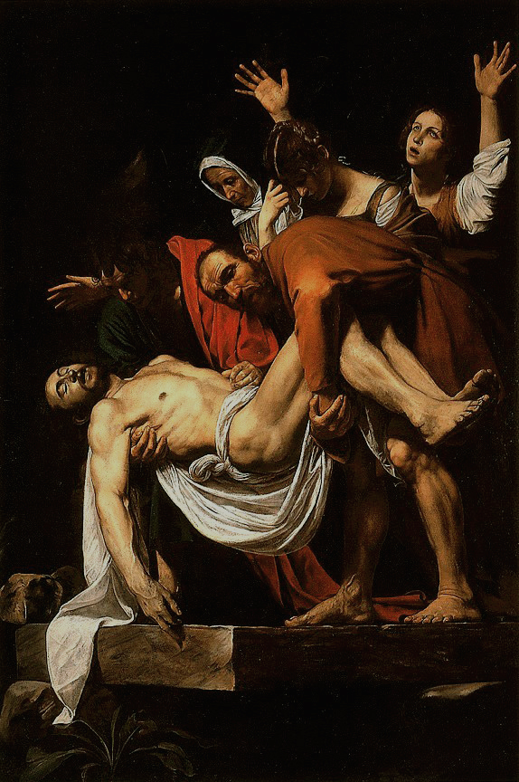 Nicodemus and Joseph of Arimathea hold Christ's body as they lay it down inside a tomb. Mary Magdalene, Christ's Mother Mary, and another woman mourn behind them.