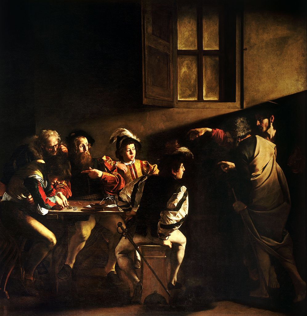 Five men sit at a table, counting coins. A sixth man stands to its right, with Christ standing behind him. The painting is dark, with deep shadows. However, a light enters the room, pointing at Saint Matthew as Christ does the same with his hand. Matthew points to himself, as if to confirm it is him that Christ is indicating.