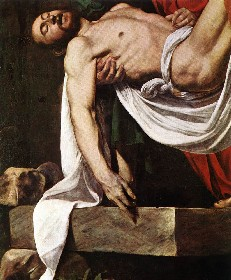 In this detail, we focus on Christ. His arm falls to the side naturally, and his head is limp.