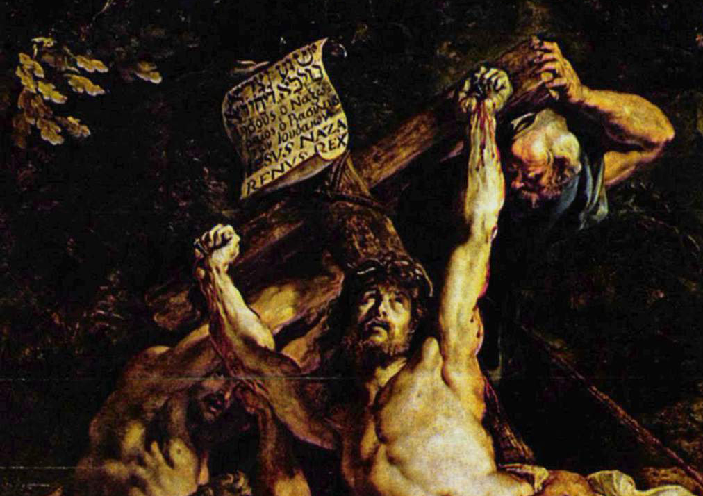 Detail of Christ's face and a man at the top of the cross.