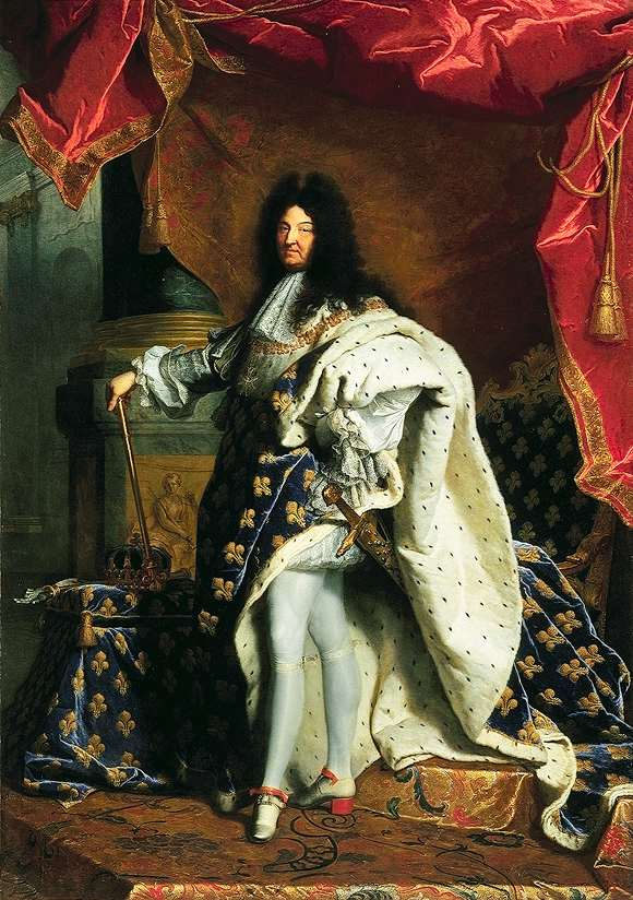 Portrait of Louis XIV. Louis stands robed in velvet and furs, one hand on a hip, the other holding a staff.