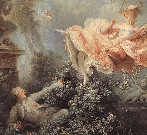 Detail of the young woman and the young man. The young woman is looking at him as she kicks off one shoe.