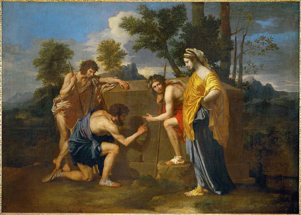 Three shepherds gathered around a tomb. They hunch over looking at the working of the stones. A woman stands to one side of them, seemingly ambivalent to their actions. All four figures are dressed in ancient Roman attire.