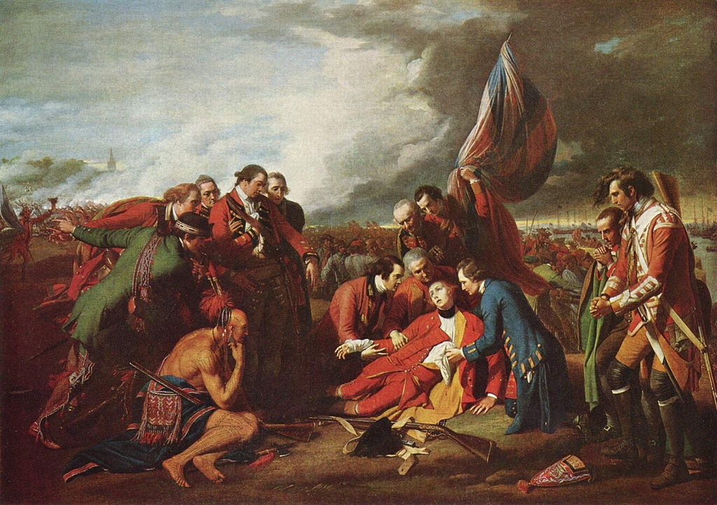 General Wolfe lies on the ground, the upper half of his body supported by three men gathered around him. Another two men stand above, looking intently at the dying general. Two men stand to the right, praying. To the left on the general are an additional six men, one of who is a Native American. One of the white men appears to be fainting from despair, while the men on either side of him prevent him from falling. A battle scene is featured in the background, but the focal figures seem ignorant of it.