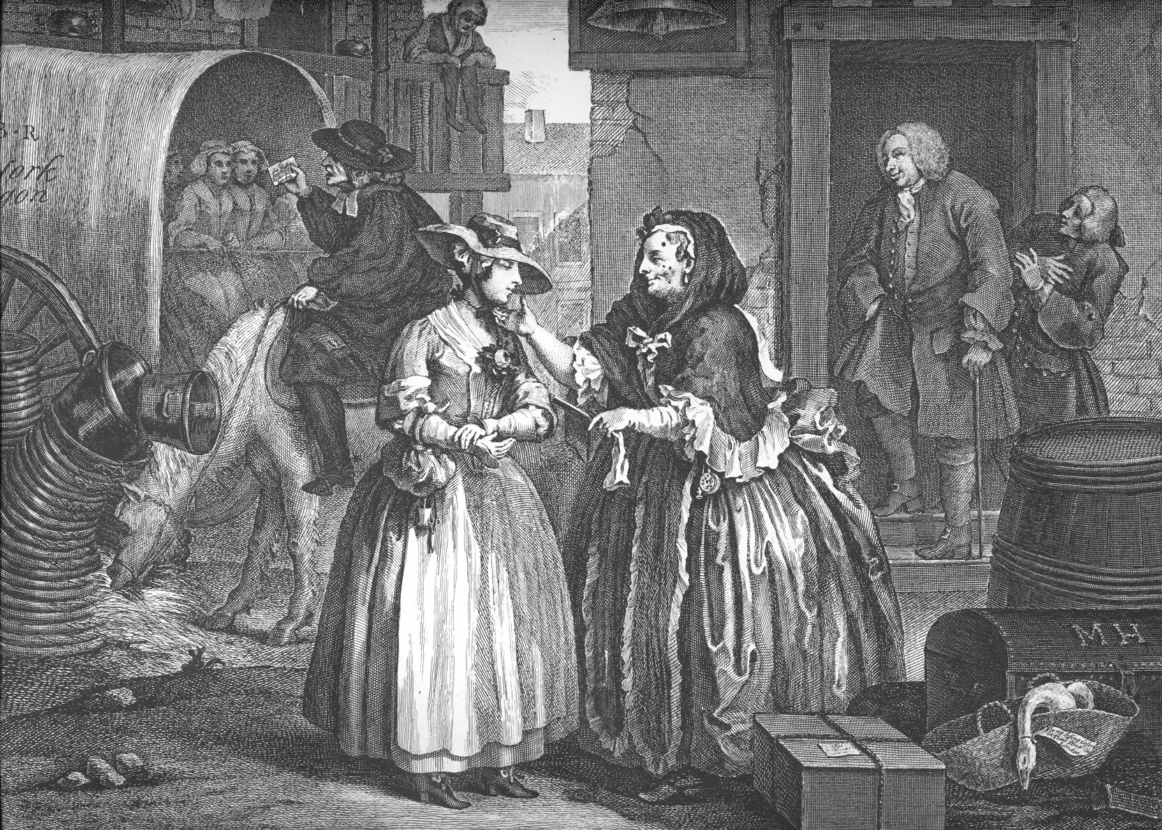In the foreground, a beautiful young woman stands in front of an older woman, who is examining the younger's face. The older woman is larger and has prominent moles on her face. In the background two men stand in a doorway and appear to be ridiculing a pastor who is preaching from horseback.