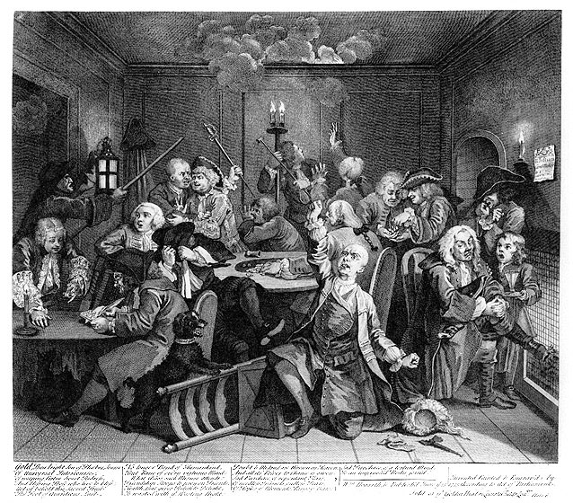 Groups of men around three different tables. One man has thrown his wig and chair on the floor in despair. The candles in the back of the room appear to have caught the ceiling on fire, and smoke billows while a few men attempt to fight the fire. Most of the men, however, do not notice.