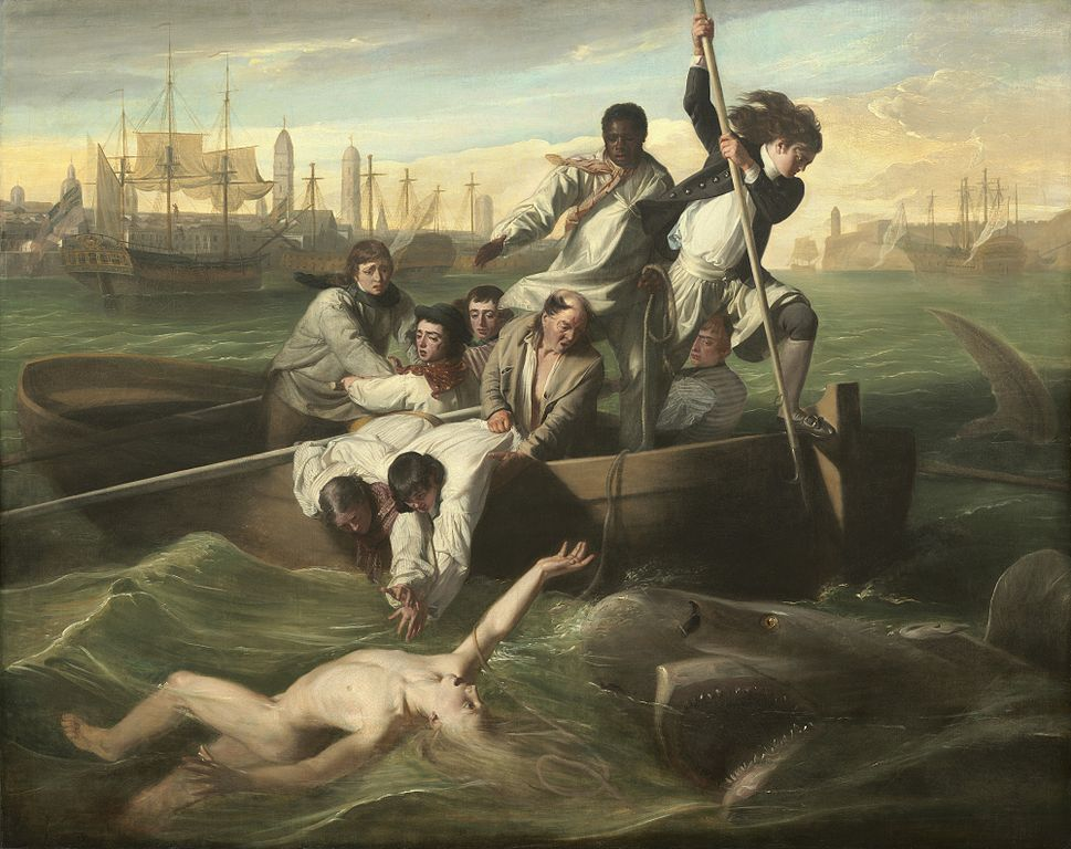 Watson, a nude figure in the water, reaches one hand out of the ocean for aid. There are nine men in a row boat. Four are rowing, two are reaching for Watson, while a third holds them in the boat. One man stands with his foot on the edge of the boat, attempting to spear the shark, while the last man, who is black, throws a rope to Watson. The shark appears to the the size of the row boat, and is swimming at Watson, its open mouth just a few feet from the man.