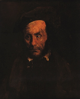 A middle aged man with scarring on his face. This portrait is noticeably darker than others in the series. The man's clothes blend into the background.