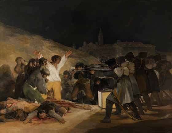 A group of Spanish resistance are huddled backed against a wall. One of their members lies dead on the ground, his own blood surrounding him. A central figure stands and is directly illuminated by a lantern. He wears a white shirt and his arms are outstretched. The resistance are surrounded by armed French troops, who stand behind the lantern and are cast in shadow.  Madrid is painted in the dark background.