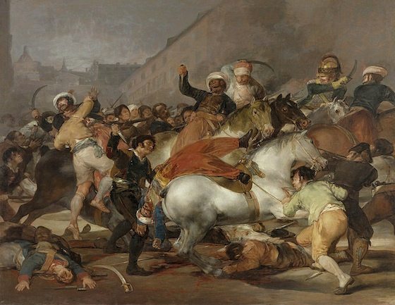 A battle scene; men both on foot and on horseback fight. The central focus is a man sliding off his horse while another aims a dagger at him.