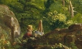 detail of a man painting in the foreground of the Oxbow.