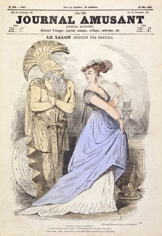 A woman in fashionable dress looks over her shoulder, scowling at a man dressed in stereotypical roman centurion garb.