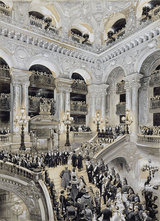 a depiction of the opening day of the opera, with people filling the stairs and flowing through the room.
