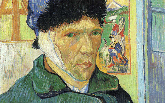 Detail of Van Gogh's face. The artist has a solemn expression. In the painting, he has used greens and blues to indicate shadow.