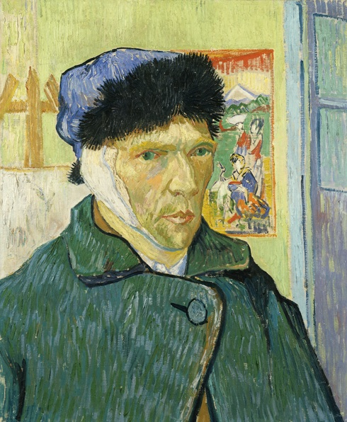 A self portrait. Van Gogh is wearing a fur-lined hat, and a dark green jacket. Behind him on the wall, a Japanese portrait is hanging up. The portrait features two women, one crouching an the other standing. The two women are depicted in far less detail than Van Gogh's face.