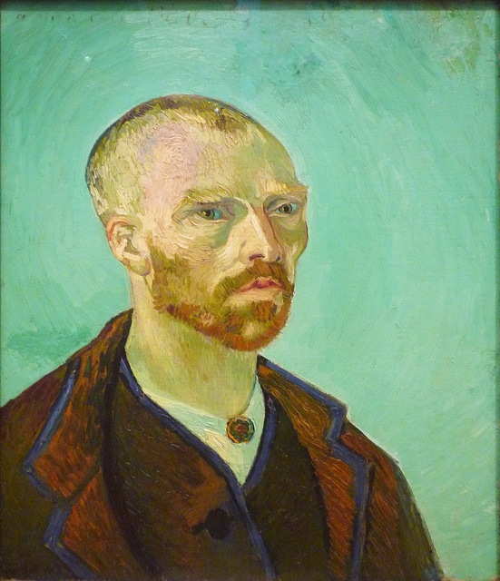 Van Gogh bust portrait. He is wearing a maroon jacket and depicted in front of a solid bluish-green background. Van Gogh is bare-headed, and has a beard. His face is angular, with an especially sharp nose.
