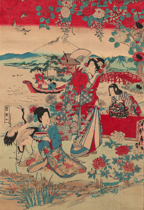 Three women are featured in the foreground of the print, while two can be seen in a boat in the background river. The three women in the forefront are all at different levels: one is standing and looking to the sky, another is kneeling, while looking back at the standing woman. The third is bending over a table that stands behind the two women. The color pallet is simple, using primarily a blue, a pinkish red, and hints of pale aqua. The scene is framed with flowers and birds.
